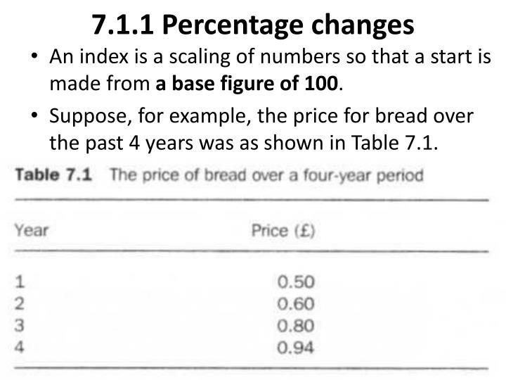 7.1.1 Percentage changes