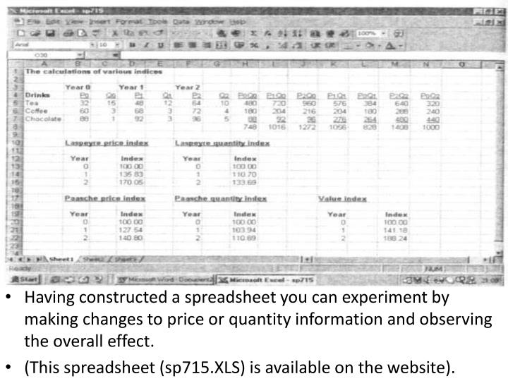 Having constructed a spreadsheet you can experiment by making changes to price or quantity information and observing the overall effect.