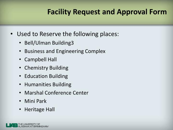 Facility Request and Approval Form