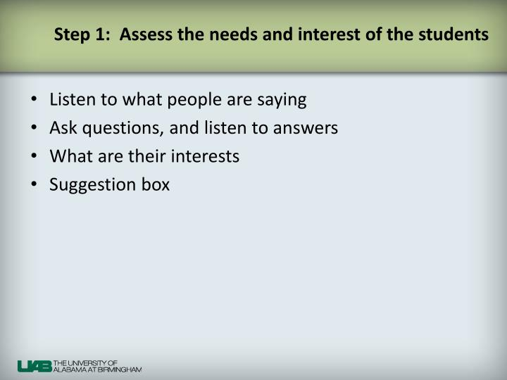 Step 1:  Assess the needs and interest of the students