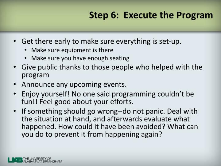 Step 6:  Execute the Program