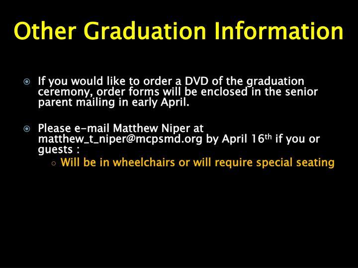 Other Graduation Information