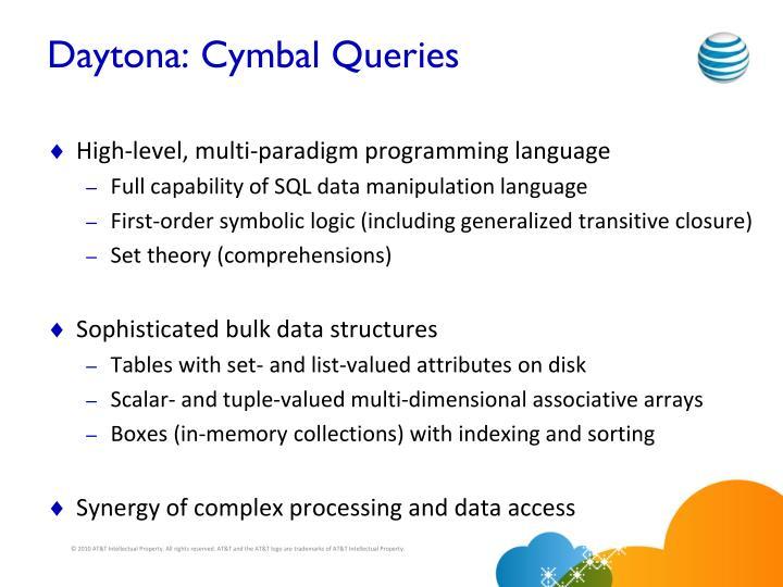 Daytona: Cymbal Queries