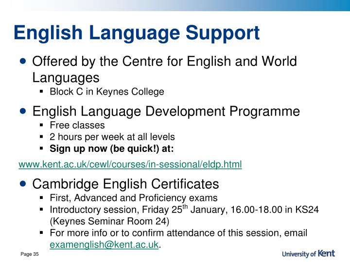 English Language Support
