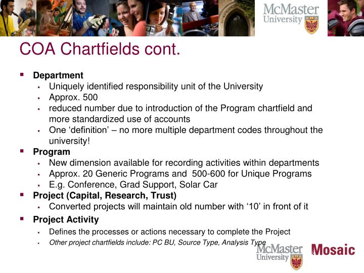 COA Chartfields cont.
