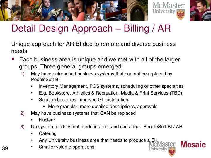 Detail Design Approach – Billing / AR