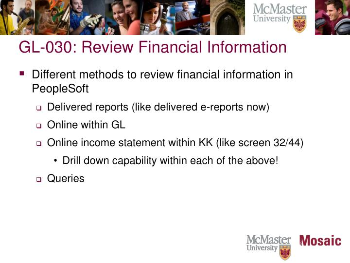 GL-030: Review Financial Information