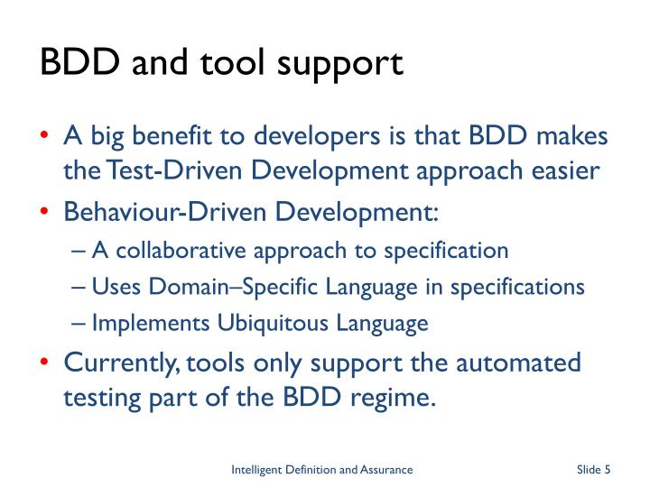 BDD and tool support