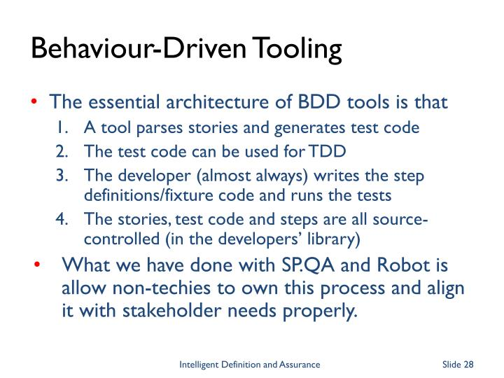 Behaviour-Driven Tooling
