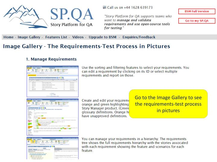 Go to the Image Gallery to see the requirements-test process in pictures
