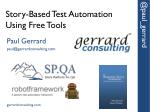 story based test automation using free tools