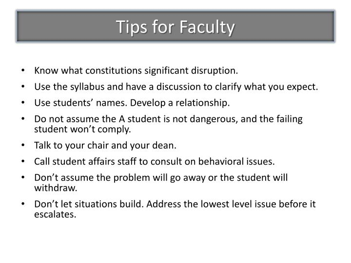Tips for Faculty