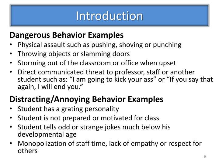 Dangerous Behavior Examples