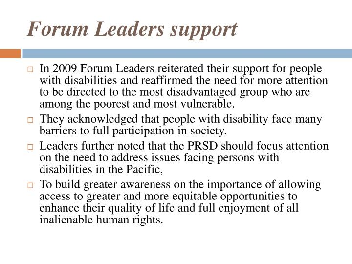 Forum Leaders support