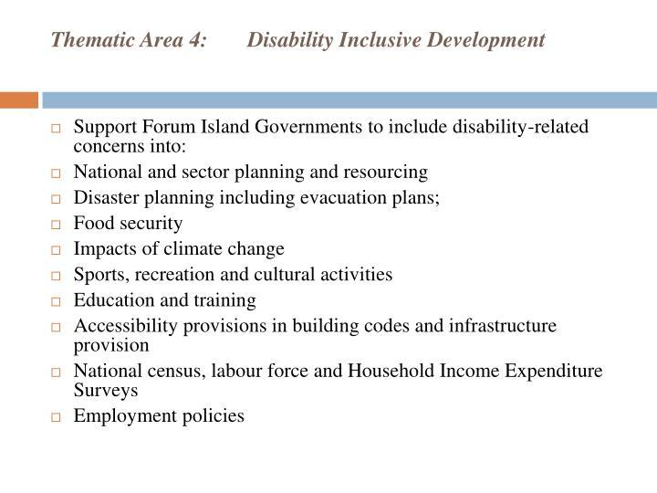 Thematic Area 4:Disability Inclusive Development