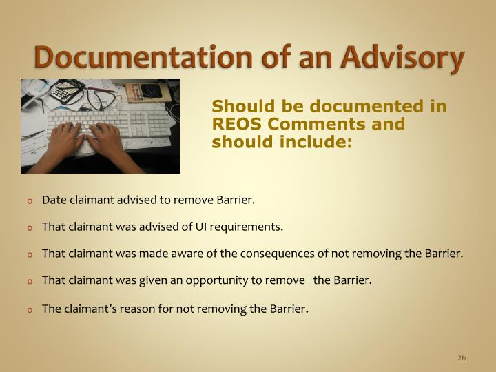 Documentation of an Advisory