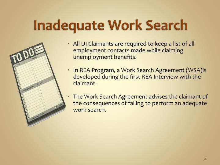Inadequate Work Search