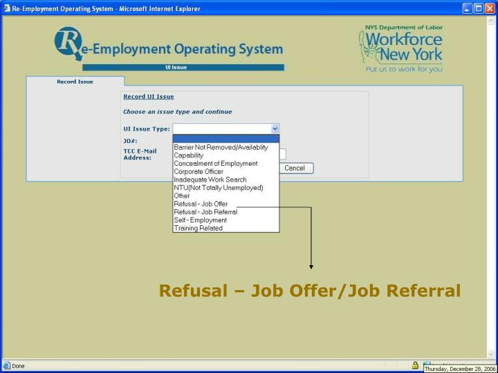 Refusal – Job Offer/Job Referral
