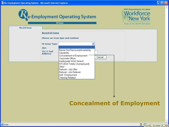 Concealment of Employment