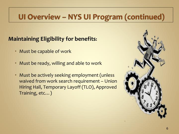 UI Overview – NYS UI Program (continued)