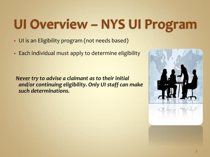 Ui overview nys ui program