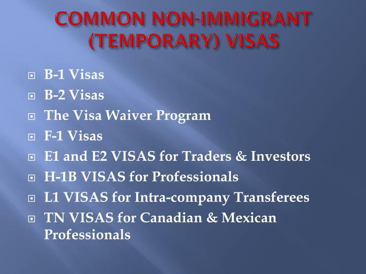 COMMON NON-IMMIGRANT (TEMPORARY) VISAS