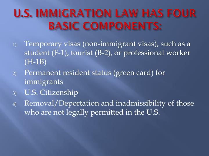 U s immigration law has four basic components