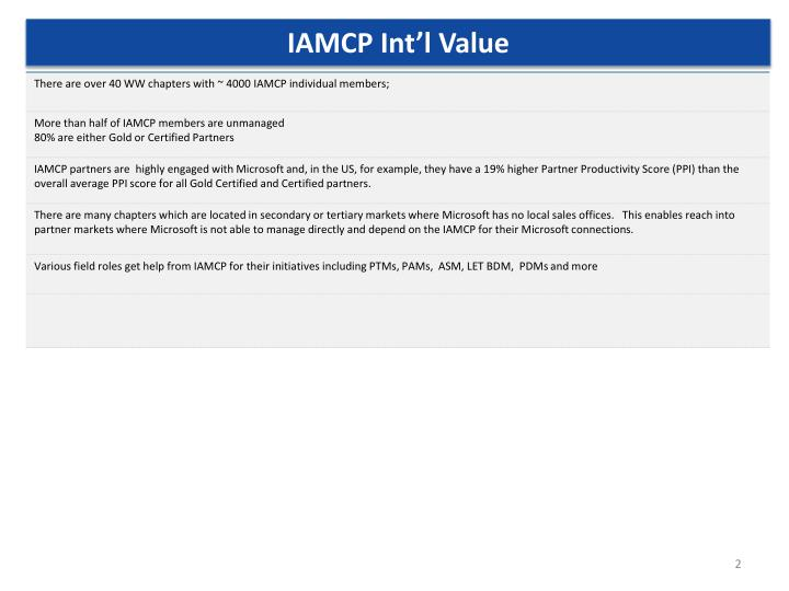 IAMCP Int'l Value