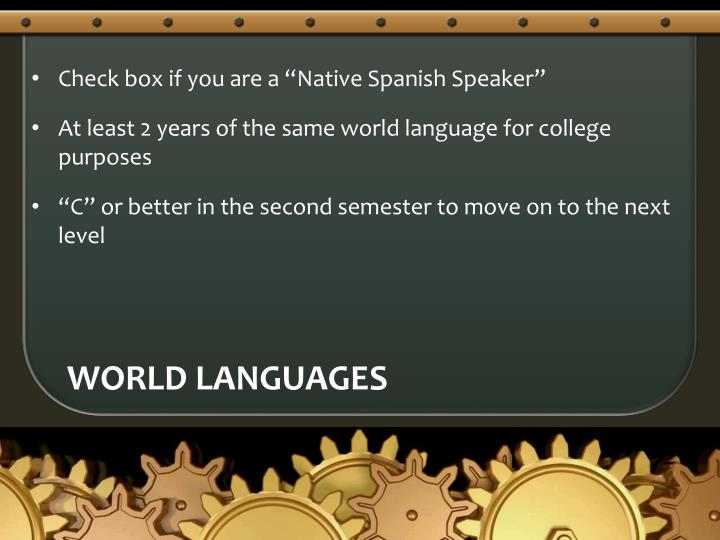 "Check box if you are a ""Native Spanish Speaker"""