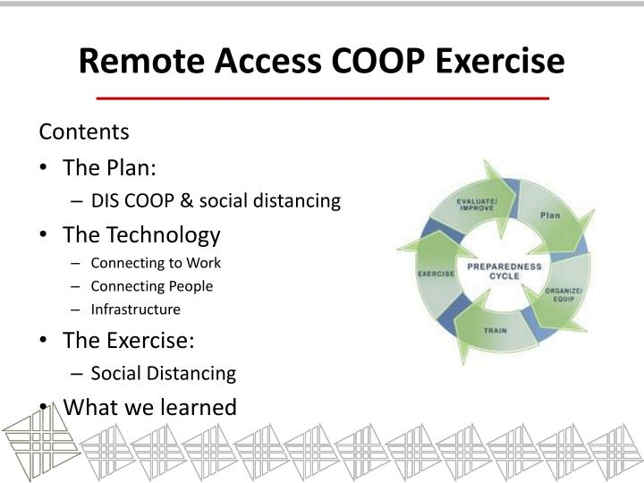 Remote access coop exercise