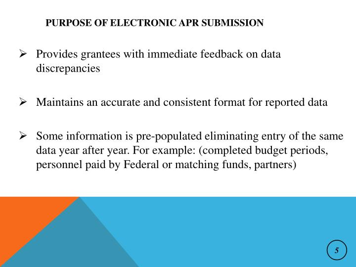 Purpose of Electronic APR Submission