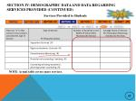 section iv demographic data and data regarding services provided continued6