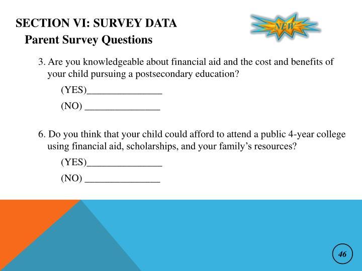 Section VI: Survey Data