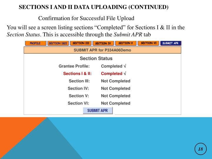 Sections I and II Data Uploading (continued)