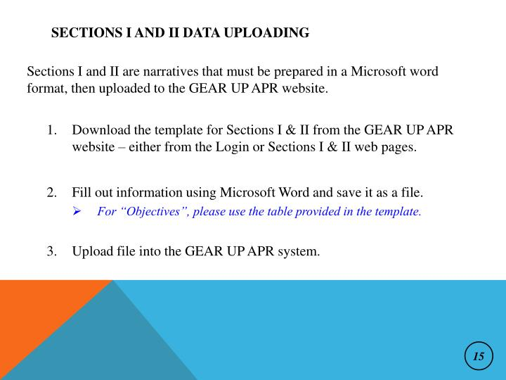Sections I and II Data Uploading