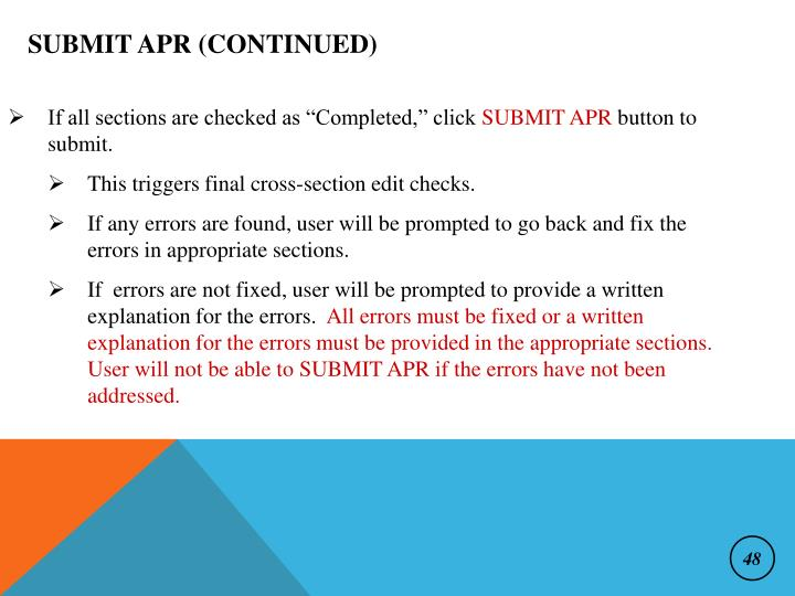 Submit APR (continued)