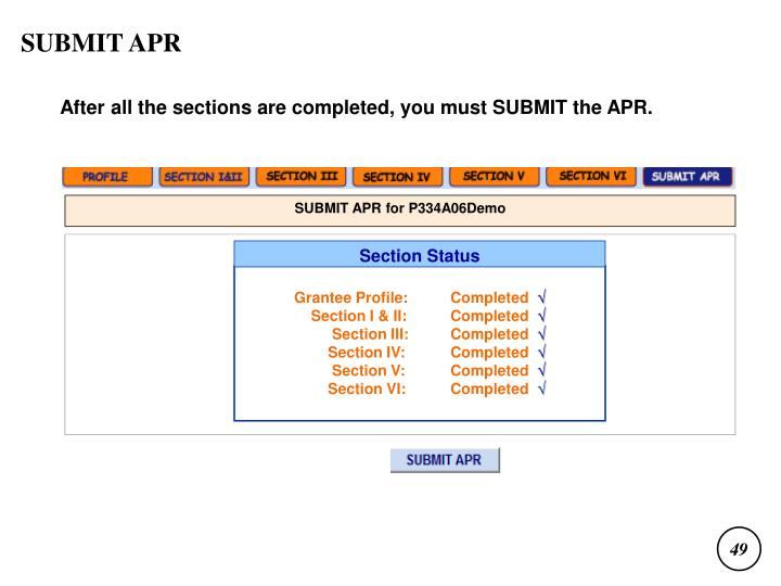 SUBMIT APR for P334A06Demo