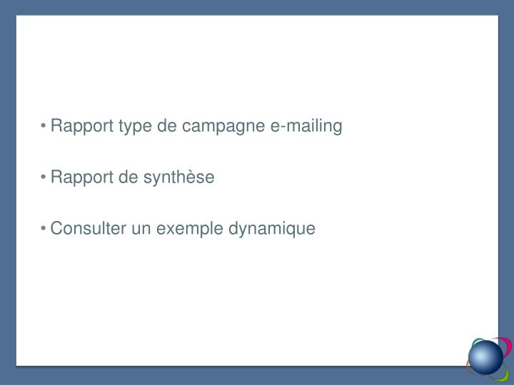 Rapport type de campagne e-mailing