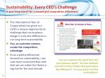 sustainability every ceo s challenge a year long search for a meaningful competitive differential