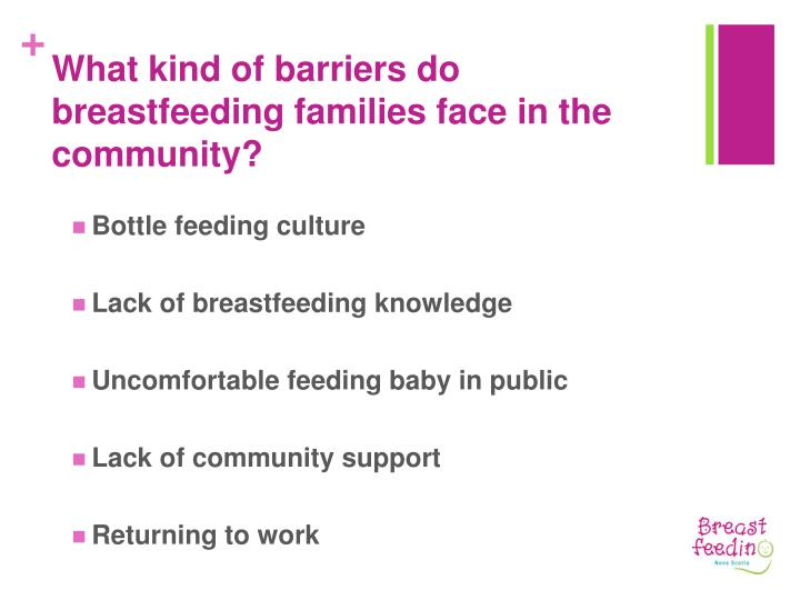 What kind of barriers do breastfeeding families face in the community?