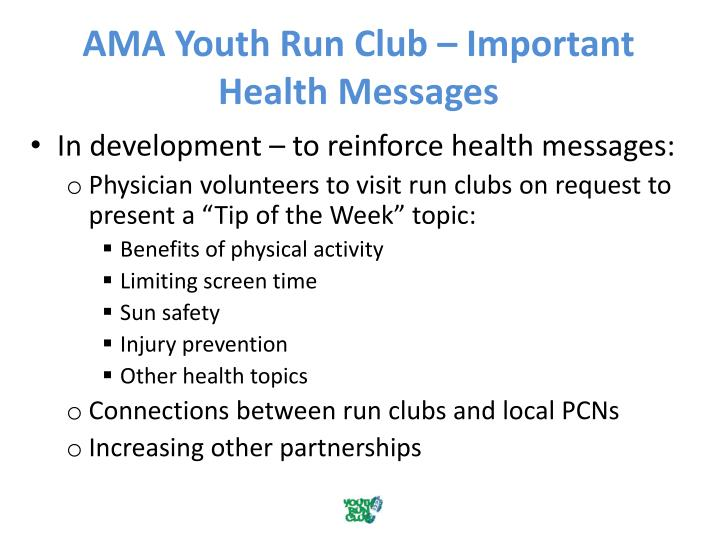 AMA Youth Run Club – Important Health Messages