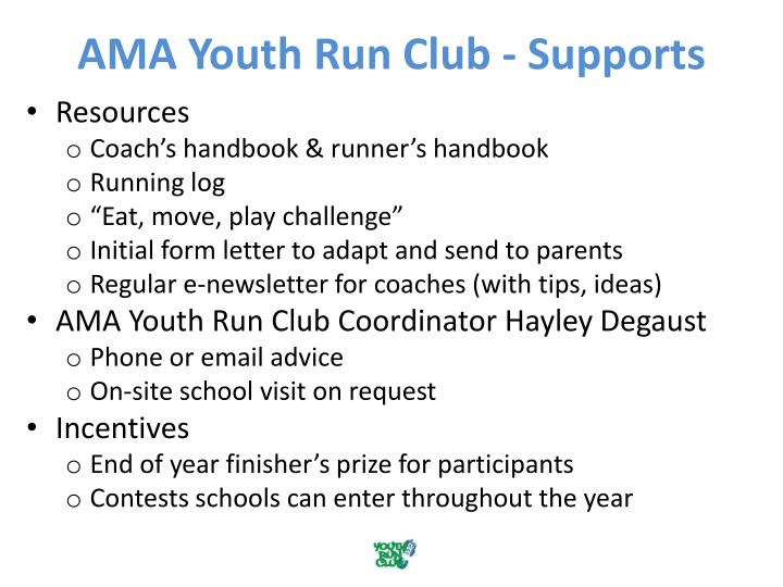 AMA Youth Run Club - Supports