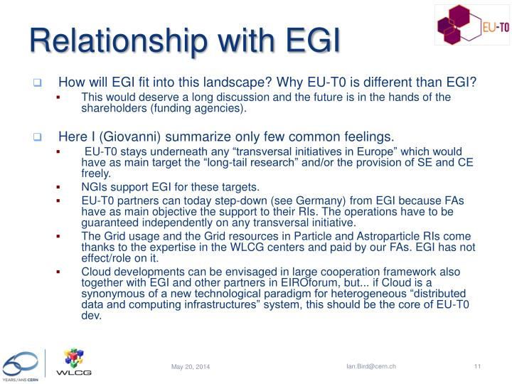 Relationship with EGI