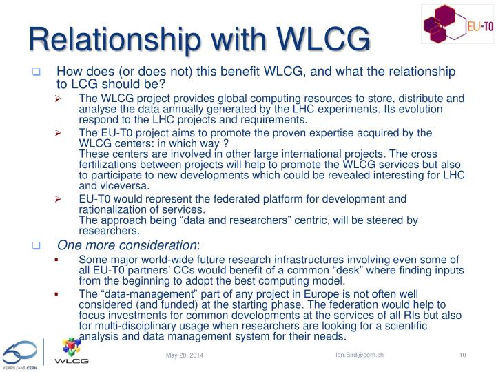 Relationship with WLCG