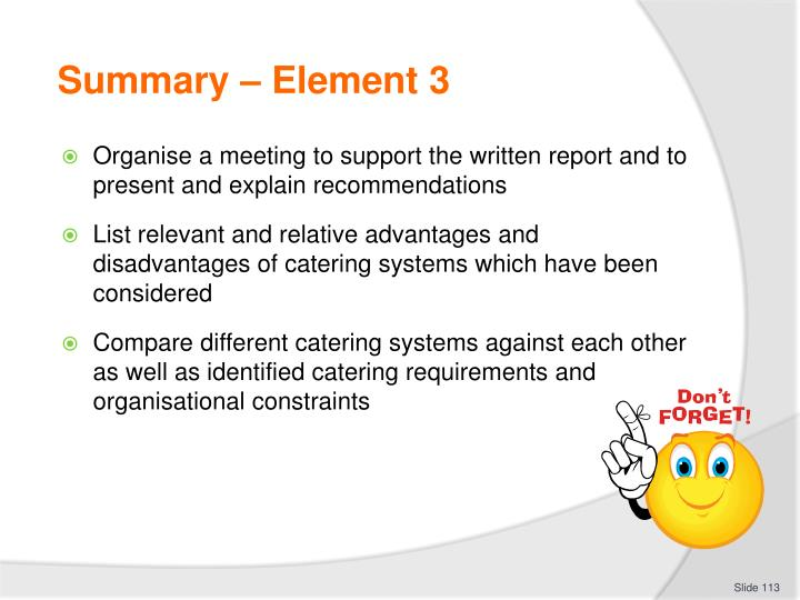 Summary – Element 3
