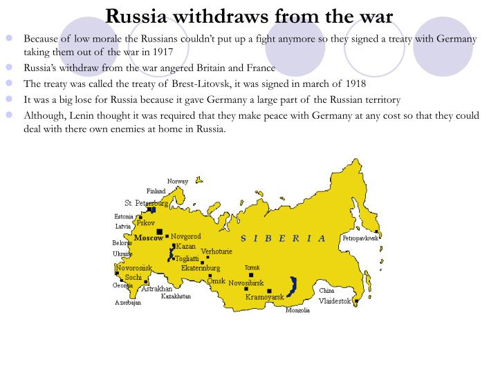 Russia withdraws from the war