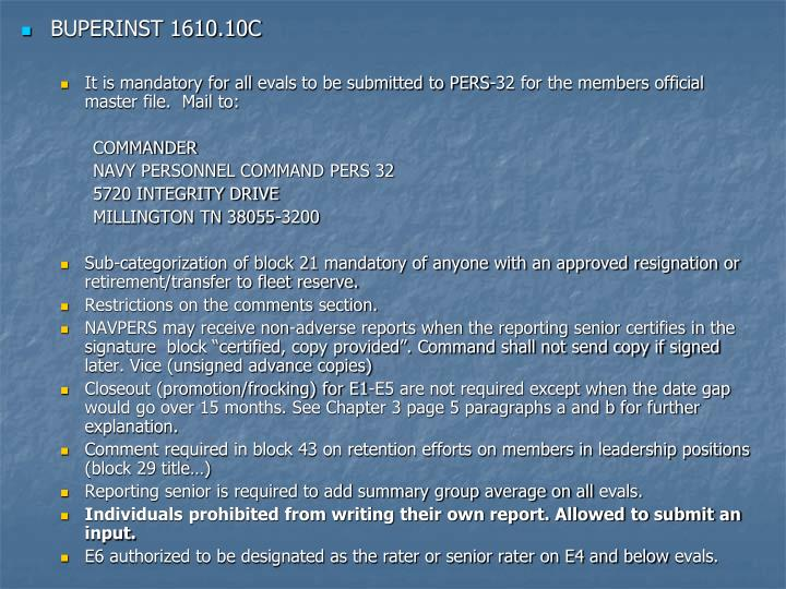 BUPERINST 1610.10C