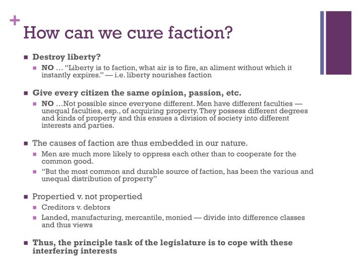 How can we cure faction?