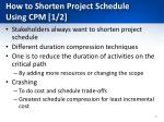 how to shorten project schedule using cpm 1 2