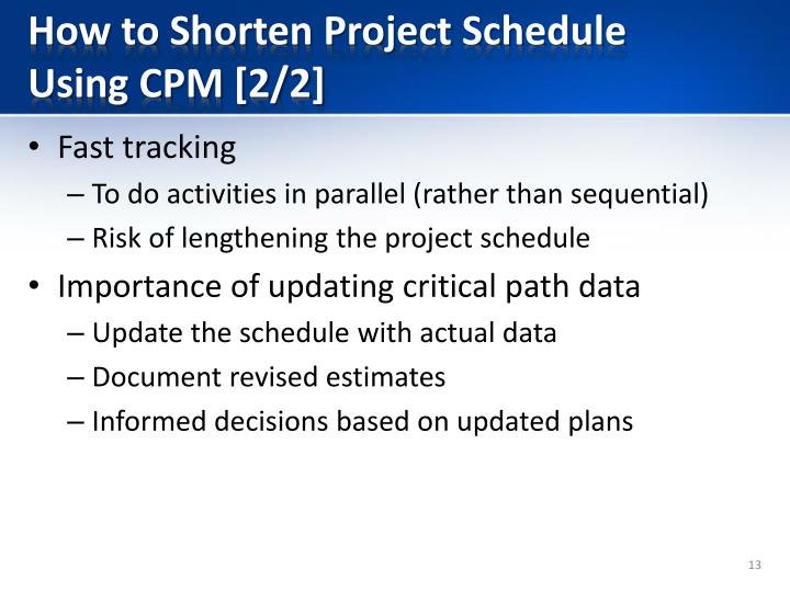 How to Shorten Project Schedule Using CPM [2/2]